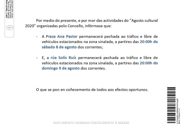 Bando Corte Plaza Ana Pastor 08/08/2020 y calle Solís Ruíz 09/08/2020